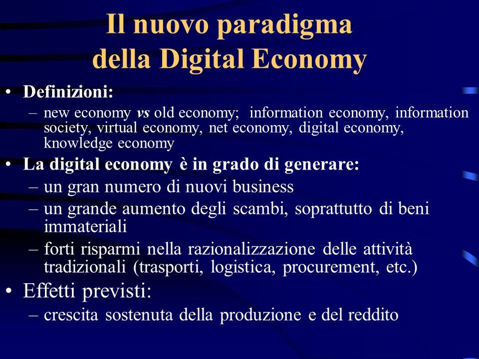 Il nuovo paradigma della Digital Economy Definizioni: –new economy vs old economy; information economy, information society, virtual economy, net econ