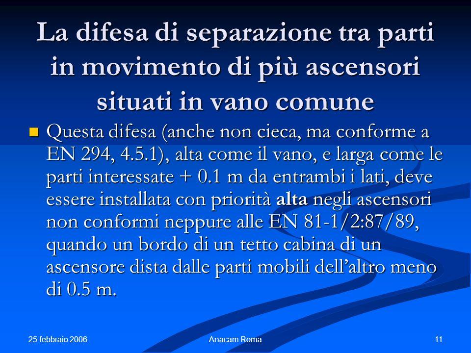 25 febbraio 2006 11Anacam Roma La difesa di separazione tra parti in movimento di più ascensori situati in vano comune Questa difesa (anche non cieca,
