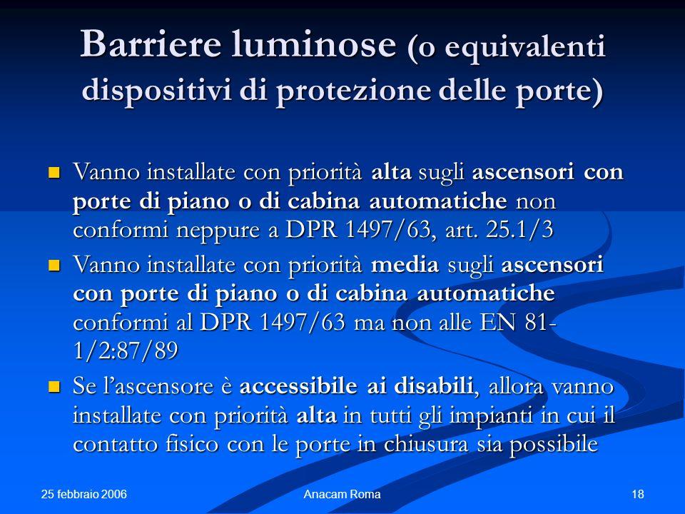 25 febbraio 2006 18Anacam Roma Barriere luminose (o equivalenti dispositivi di protezione delle porte) Vanno installate con priorità alta sugli ascens