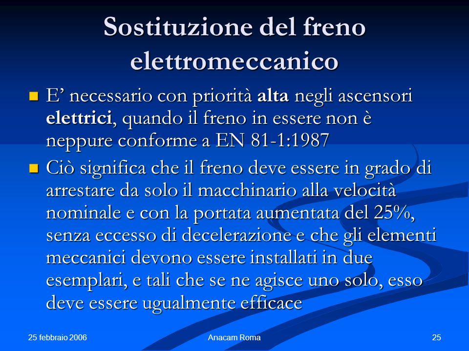25 febbraio 2006 25Anacam Roma Sostituzione del freno elettromeccanico E necessario con priorità alta negli ascensori elettrici, quando il freno in es