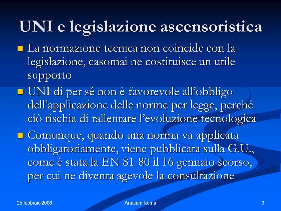 25 febbraio 2006 3Anacam Roma UNI e legislazione ascensoristica La normazione tecnica non coincide con la legislazione, casomai ne costituisce un util