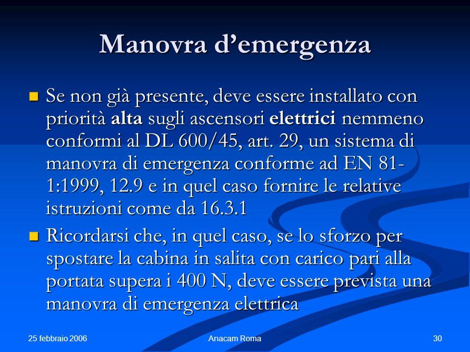 25 febbraio 2006 30Anacam Roma Manovra demergenza Se non già presente, deve essere installato con priorità alta sugli ascensori elettrici nemmeno conf