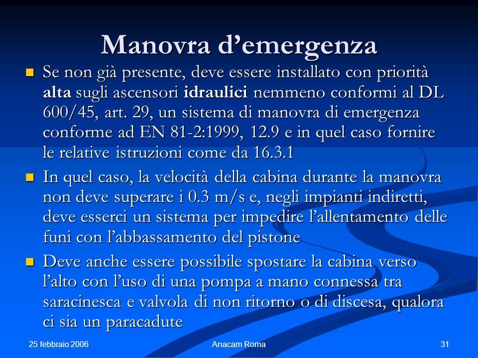 25 febbraio 2006 31Anacam Roma Manovra demergenza Se non già presente, deve essere installato con priorità alta sugli ascensori idraulici nemmeno conf