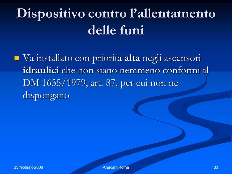 25 febbraio 2006 33Anacam Roma Dispositivo contro lallentamento delle funi Va installato con priorità alta negli ascensori idraulici che non siano nem
