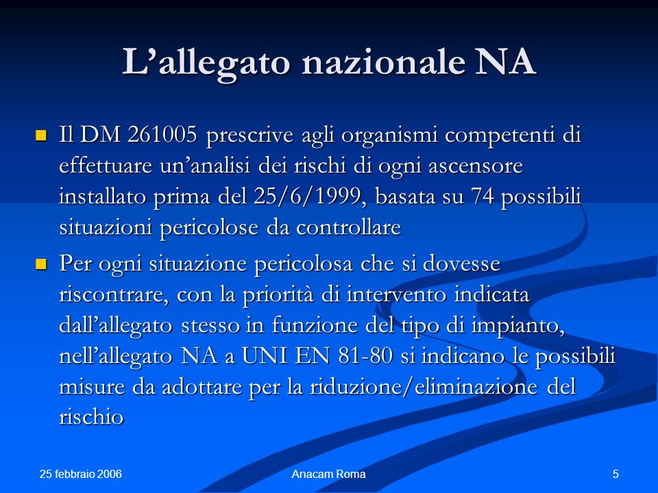 25 febbraio 2006 5Anacam Roma Lallegato nazionale NA Il DM 261005 prescrive agli organismi competenti di effettuare unanalisi dei rischi di ogni ascen