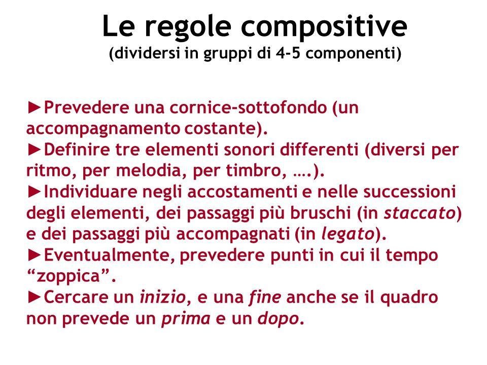 Le regole compositive (dividersi in gruppi di 4-5 componenti) Prevedere una cornice-sottofondo (un accompagnamento costante). Definire tre elementi so