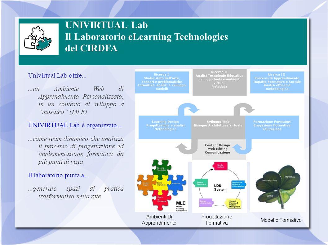 UNIVIRTUAL Lab Il Laboratorio eLearning Technologies del CIRDFA Univirtual Lab offre......un Ambiente Web di Apprendimento Personalizzato, in un conte