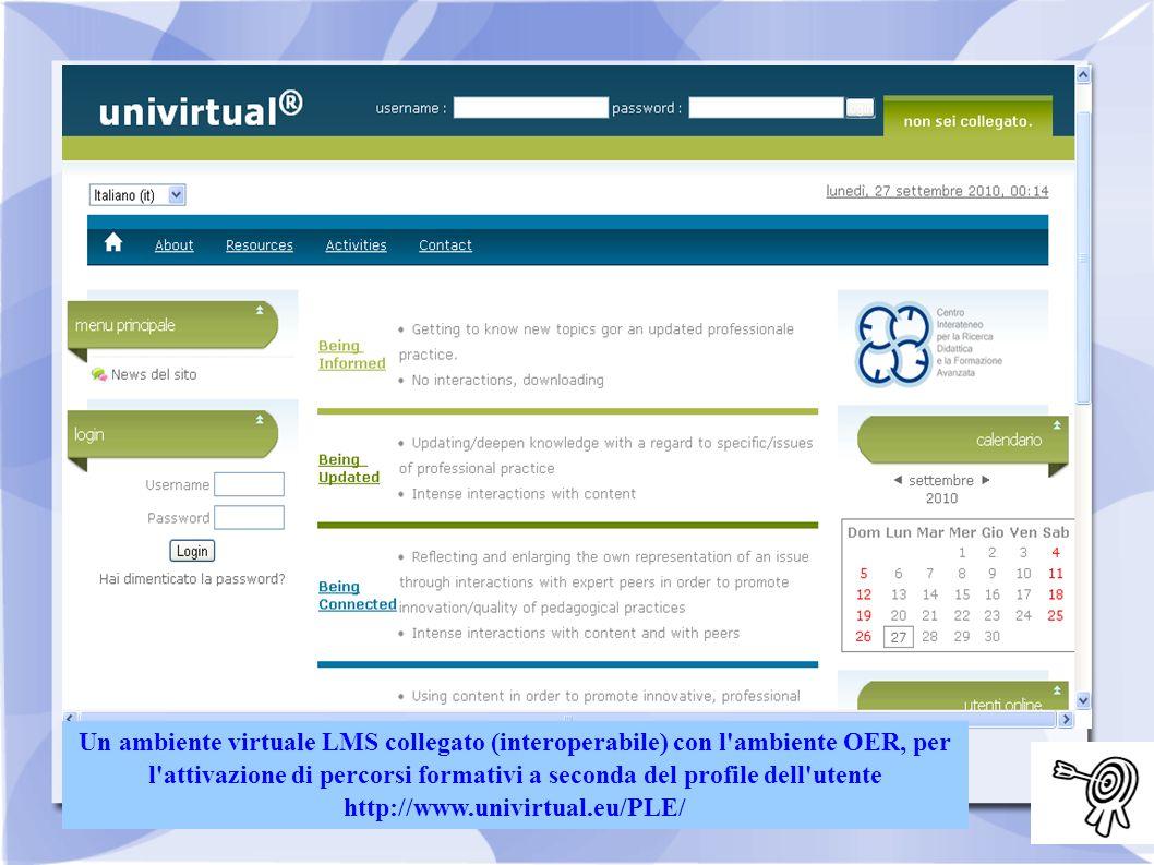 Un ambiente virtuale LMS collegato (interoperabile) con l'ambiente OER, per l'attivazione di percorsi formativi a seconda del profile dell'utente http