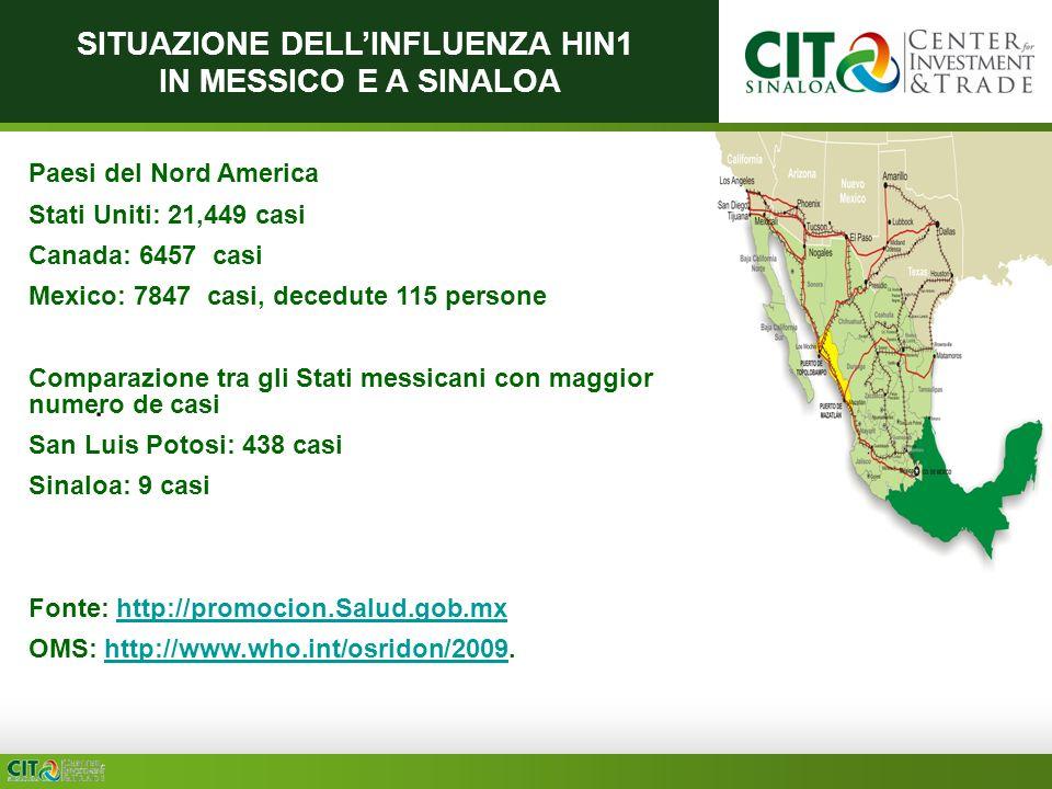 SITUAZIONE DELLINFLUENZA HIN1 IN MESSICO E A SINALOA Paesi del Nord America Stati Uniti: 21,449 casi Canada: 6457 casi Mexico: 7847 casi, decedute 115 persone Comparazione tra gli Stati messicani con maggior numero de casi San Luis Potosi: 438 casi Sinaloa: 9 casi Fonte: http://promocion.Salud.gob.mxhttp://promocion.Salud.gob.mx OMS: http://www.who.int/osridon/2009.http://www.who.int/osridon/2009.