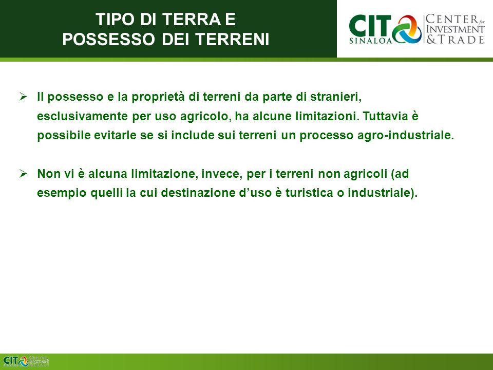 TIPO DI TERRA E POSSESSO DEI TERRENI Il possesso e la proprietà di terreni da parte di stranieri, esclusivamente per uso agricolo, ha alcune limitazioni.