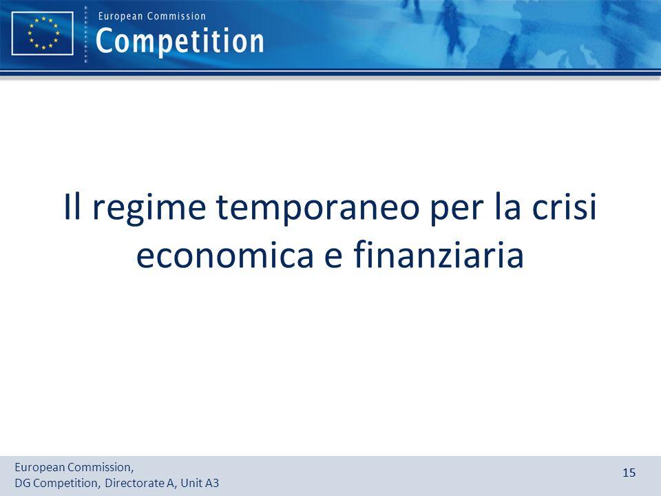 European Commission, DG Competition, Directorate A, Unit A3 15 Il regime temporaneo per la crisi economica e finanziaria