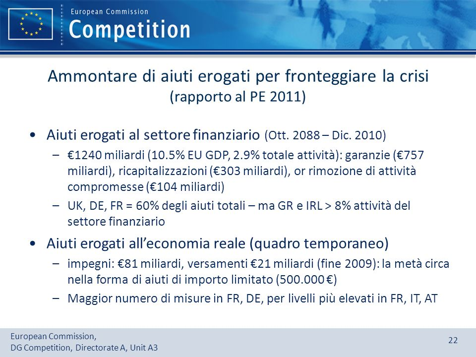 European Commission, DG Competition, Directorate A, Unit A3 22 Ammontare di aiuti erogati per fronteggiare la crisi (rapporto al PE 2011) Aiuti erogat