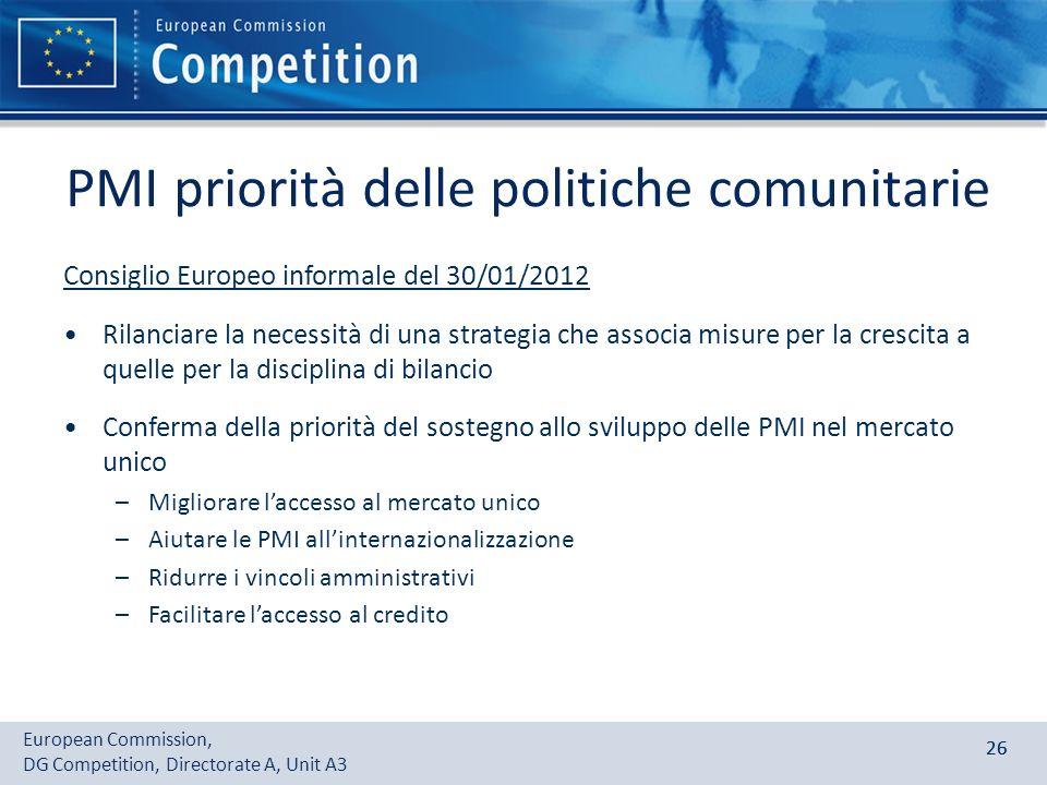 European Commission, DG Competition, Directorate A, Unit A3 26 PMI priorità delle politiche comunitarie Consiglio Europeo informale del 30/01/2012 Ril