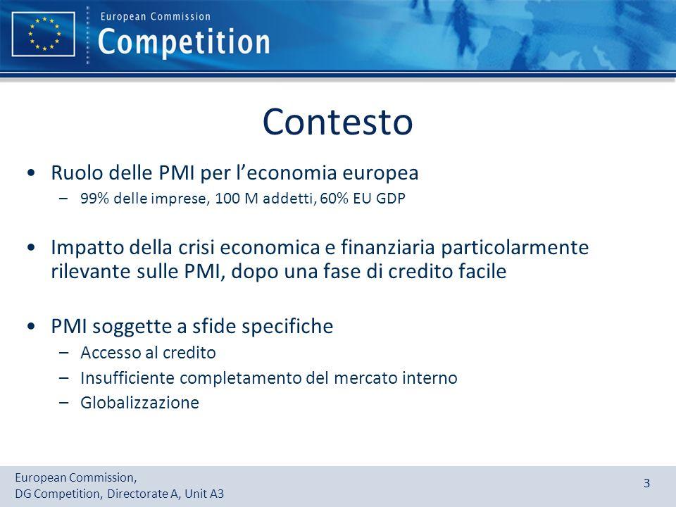 European Commission, DG Competition, Directorate A, Unit A3 33 Contesto Ruolo delle PMI per leconomia europea –99% delle imprese, 100 M addetti, 60% E