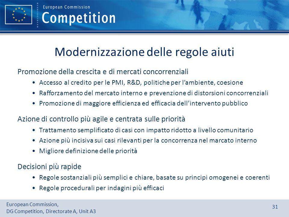 European Commission, DG Competition, Directorate A, Unit A3 31 Modernizzazione delle regole aiuti Promozione della crescita e di mercati concorrenzial