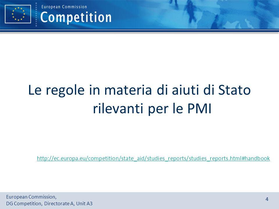 European Commission, DG Competition, Directorate A, Unit A3 44 Le regole in materia di aiuti di Stato rilevanti per le PMI http://ec.europa.eu/competi