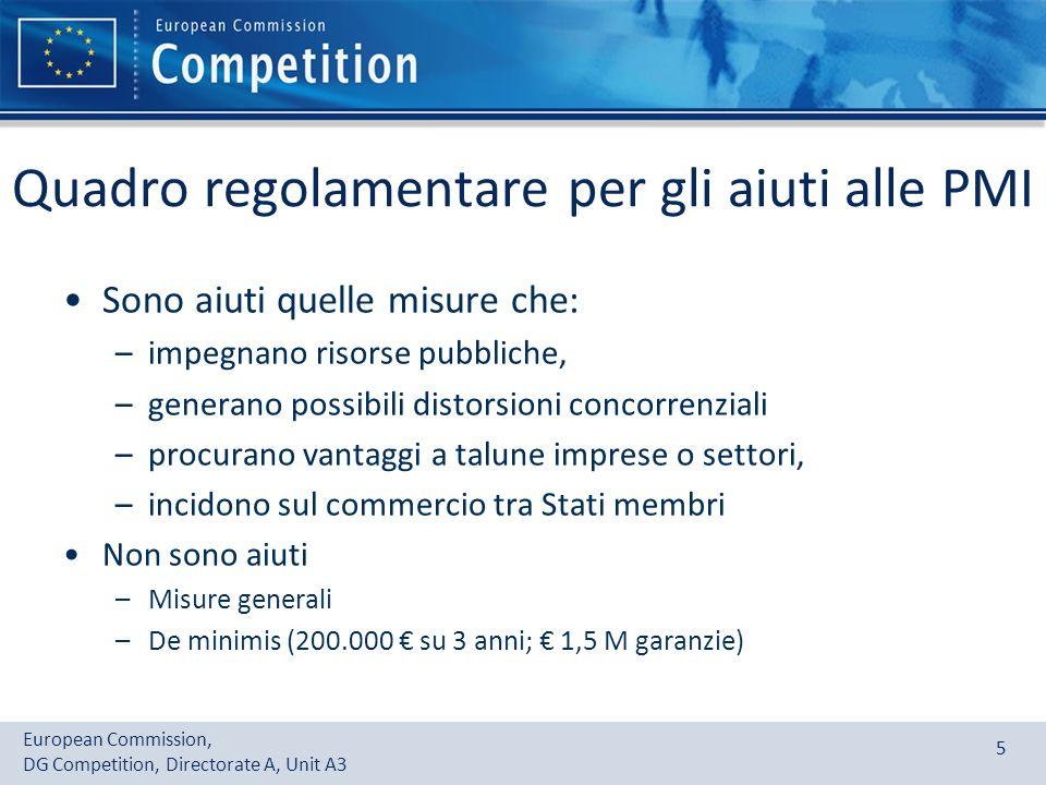 European Commission, DG Competition, Directorate A, Unit A3 5 Quadro regolamentare per gli aiuti alle PMI Sono aiuti quelle misure che: –impegnano ris