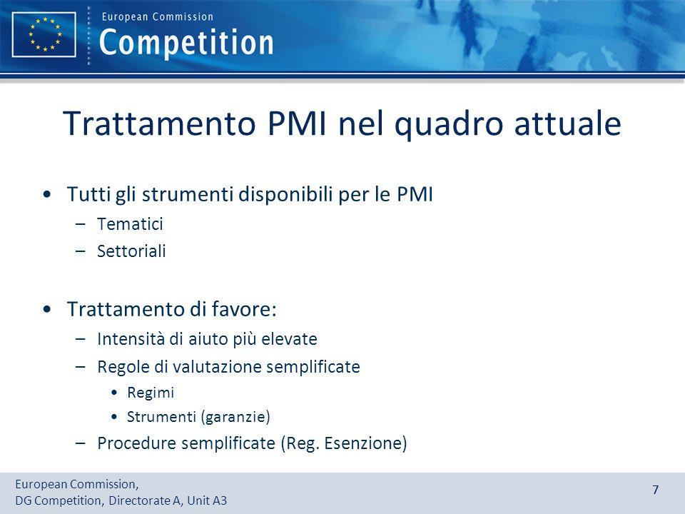 European Commission, DG Competition, Directorate A, Unit A3 77 Trattamento PMI nel quadro attuale Tutti gli strumenti disponibili per le PMI –Tematici