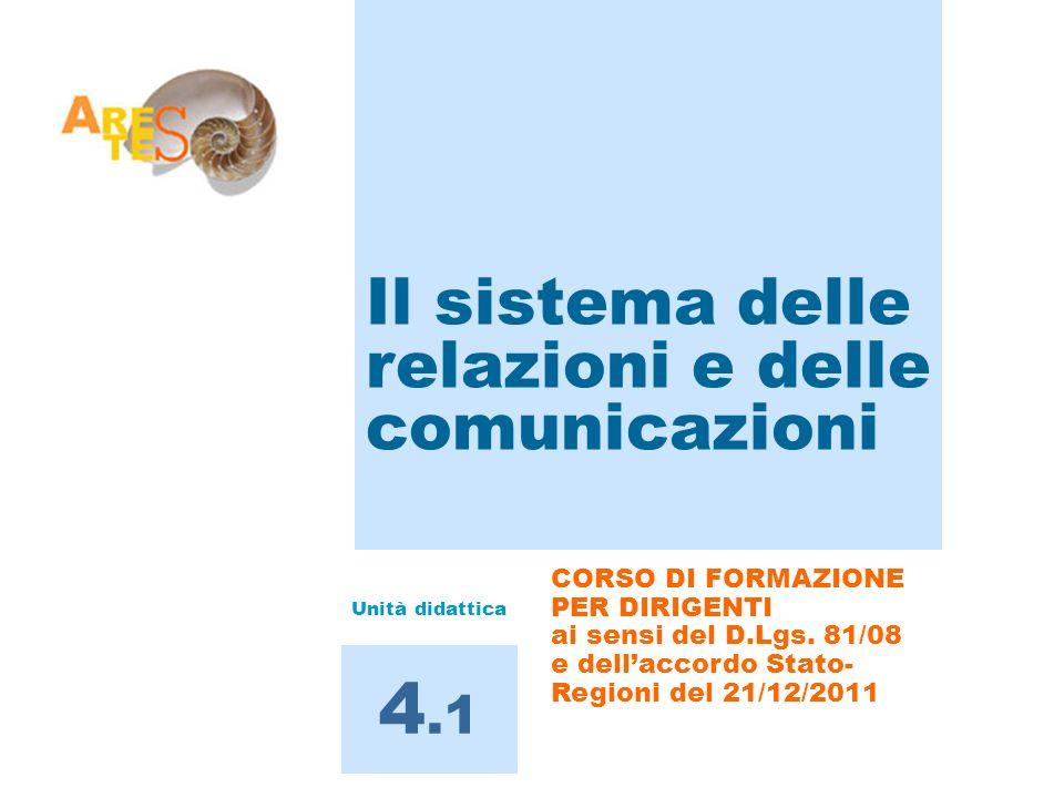 Il sistema delle relazioni e delle comunicazioni 4.1 CORSO DI FORMAZIONE PER DIRIGENTI ai sensi del D.Lgs. 81/08 e dellaccordo Stato- Regioni del 21/1