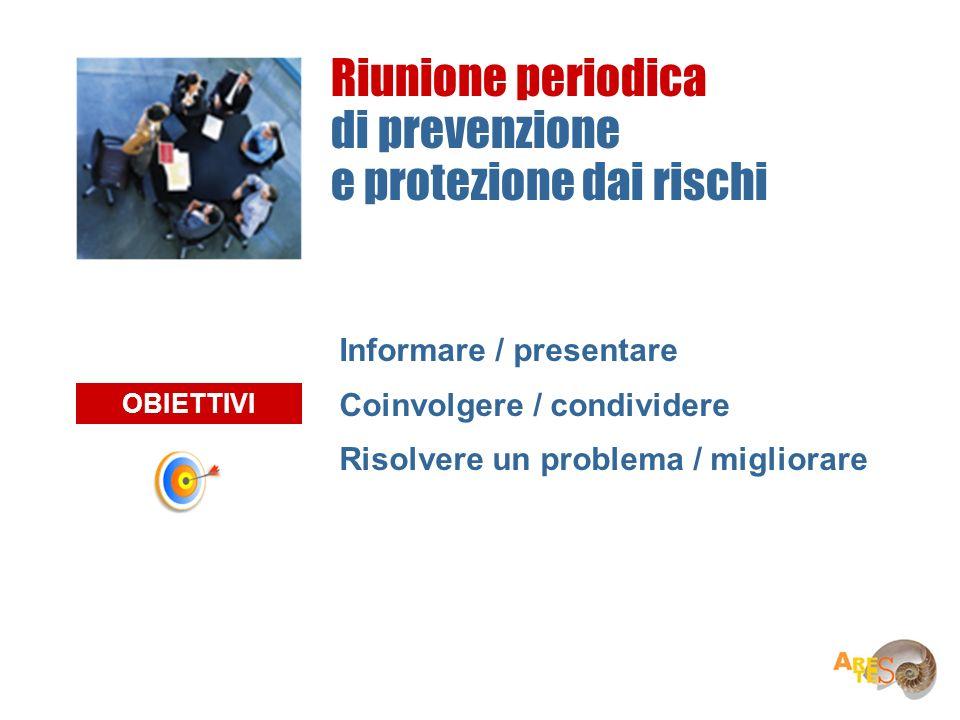 Informare / presentare Coinvolgere / condividere Risolvere un problema / migliorare OBIETTIVI Riunione periodica di prevenzione e protezione dai risch