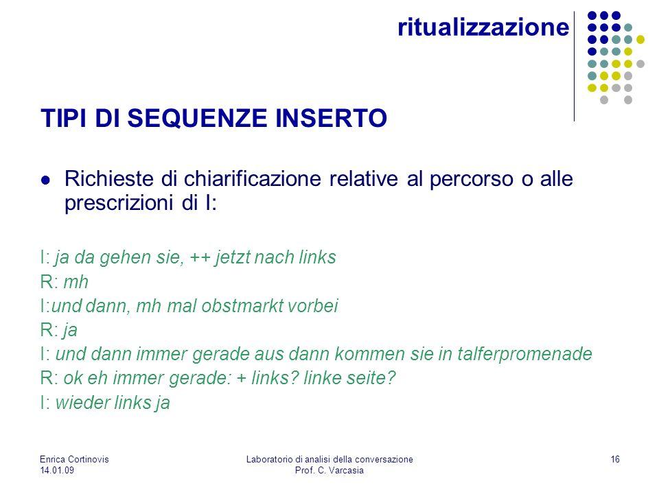Enrica Cortinovis 14.01.09 Laboratorio di analisi della conversazione Prof. C. Varcasia 16 Richieste di chiarificazione relative al percorso o alle pr