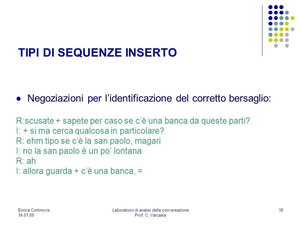 Enrica Cortinovis 14.01.09 Laboratorio di analisi della conversazione Prof. C. Varcasia 18 Negoziazioni per lidentificazione del corretto bersaglio: R