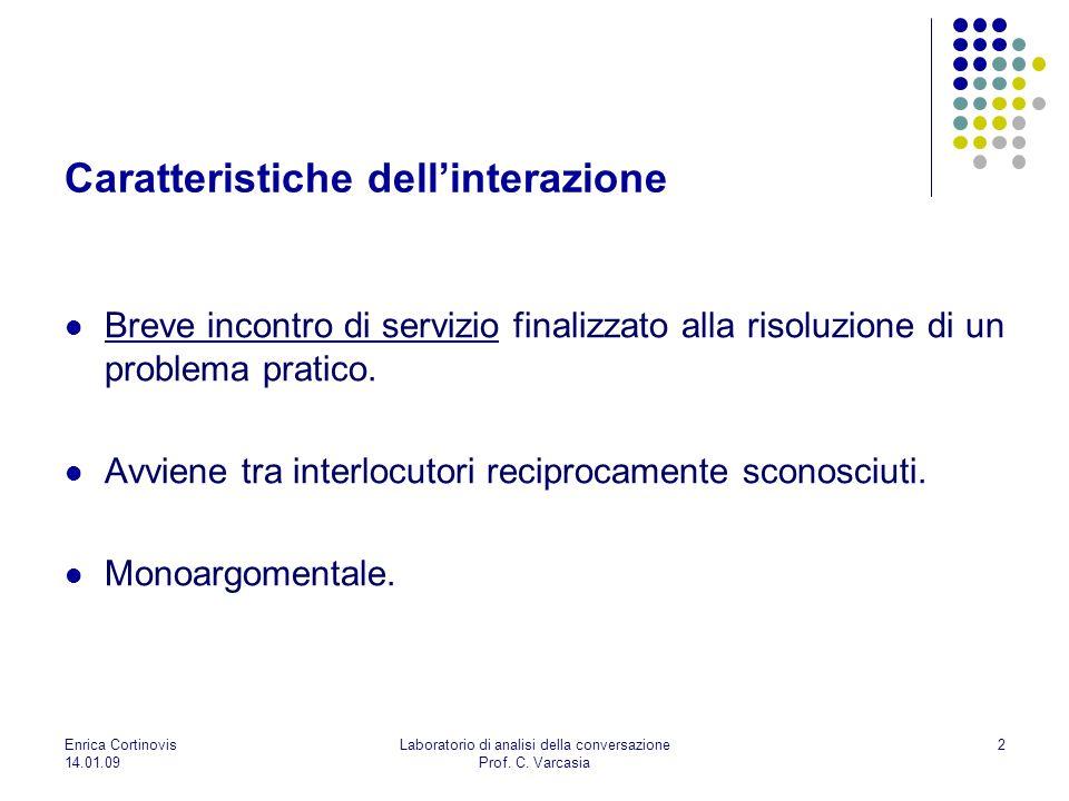 14.01.09 Laboratorio di analisi della conversazione Prof. C. Varcasia 2 Caratteristiche dellinterazione Breve incontro di servizio finalizzato alla ri