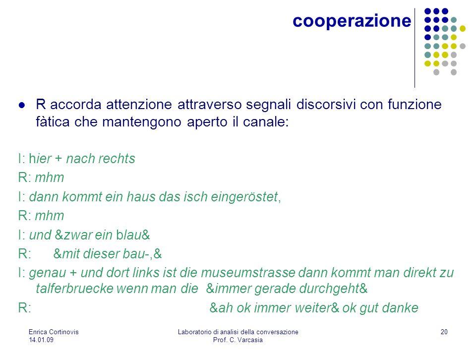 Enrica Cortinovis 14.01.09 Laboratorio di analisi della conversazione Prof. C. Varcasia 20 cooperazione R accorda attenzione attraverso segnali discor