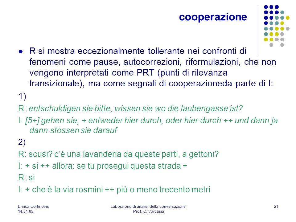 Enrica Cortinovis 14.01.09 Laboratorio di analisi della conversazione Prof. C. Varcasia 21 R si mostra eccezionalmente tollerante nei confronti di fen