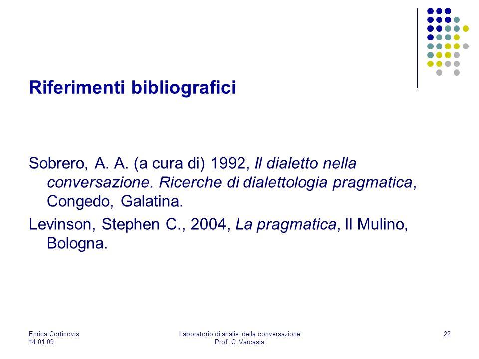 Enrica Cortinovis 14.01.09 Laboratorio di analisi della conversazione Prof. C. Varcasia 22 Riferimenti bibliografici Sobrero, A. A. (a cura di) 1992,
