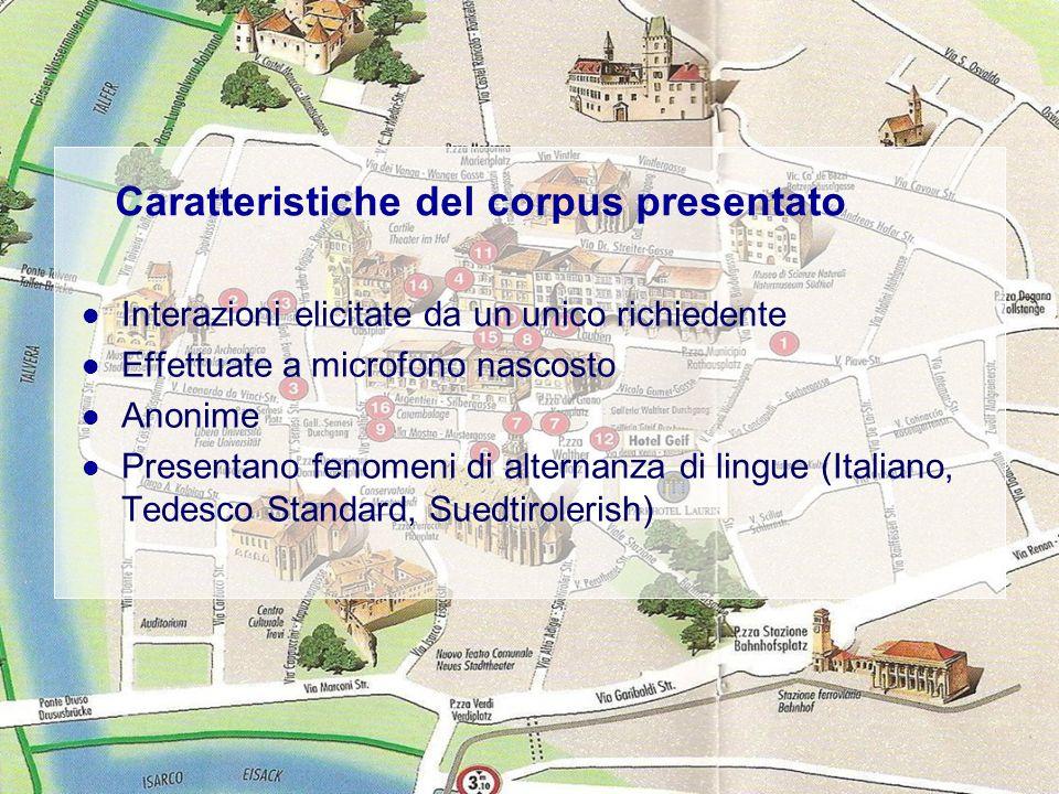 Enrica Cortinovis 14.01.09Laboratorio di analisi della conversazione, Prof. C. Varcasia 3 Caratteristiche del corpus presentato Interazioni elicitate