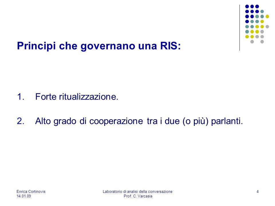 Enrica Cortinovis 14.01.09 Laboratorio di analisi della conversazione Prof. C. Varcasia 4 Principi che governano una RIS: 1.Forte ritualizzazione. 2.A