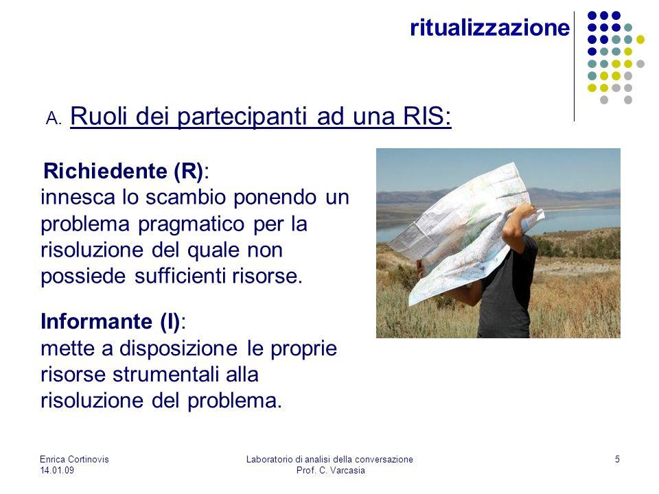5 ritualizzazione A. Ruoli dei partecipanti ad una RIS: Richiedente (R): Informante (I): mette a disposizione le proprie risorse strumentali alla riso