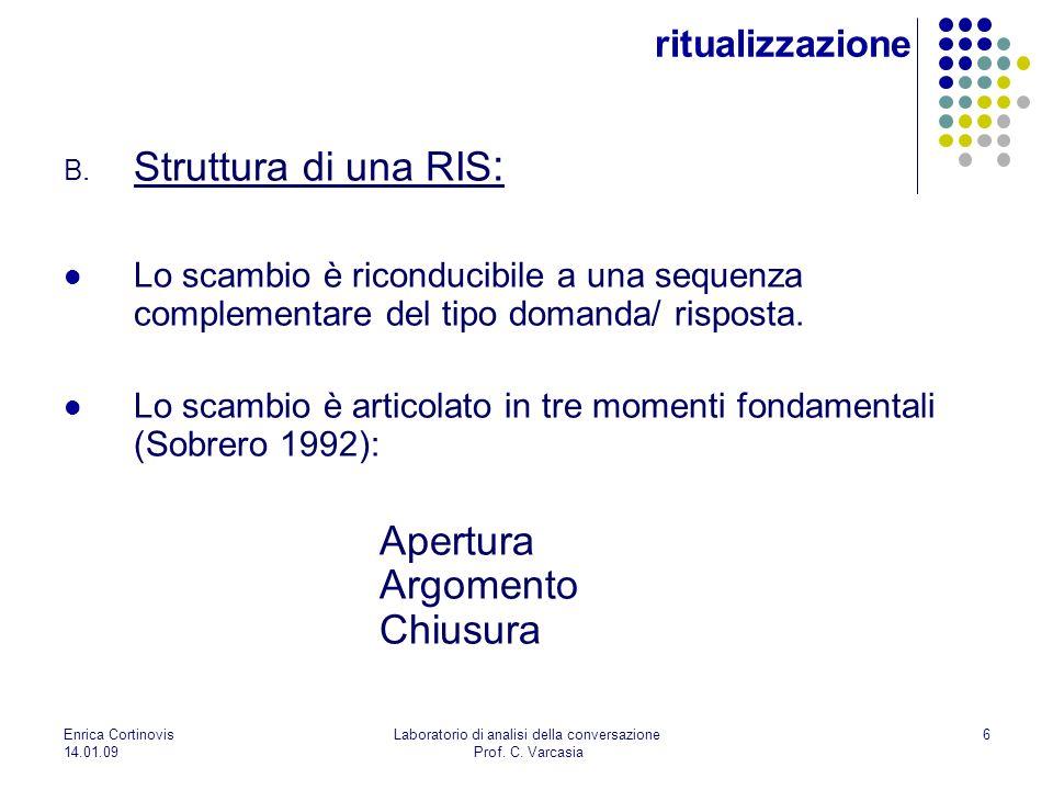 Enrica Cortinovis 14.01.09 Laboratorio di analisi della conversazione Prof. C. Varcasia 6 B. Struttura di una RIS : Lo scambio è riconducibile a una s