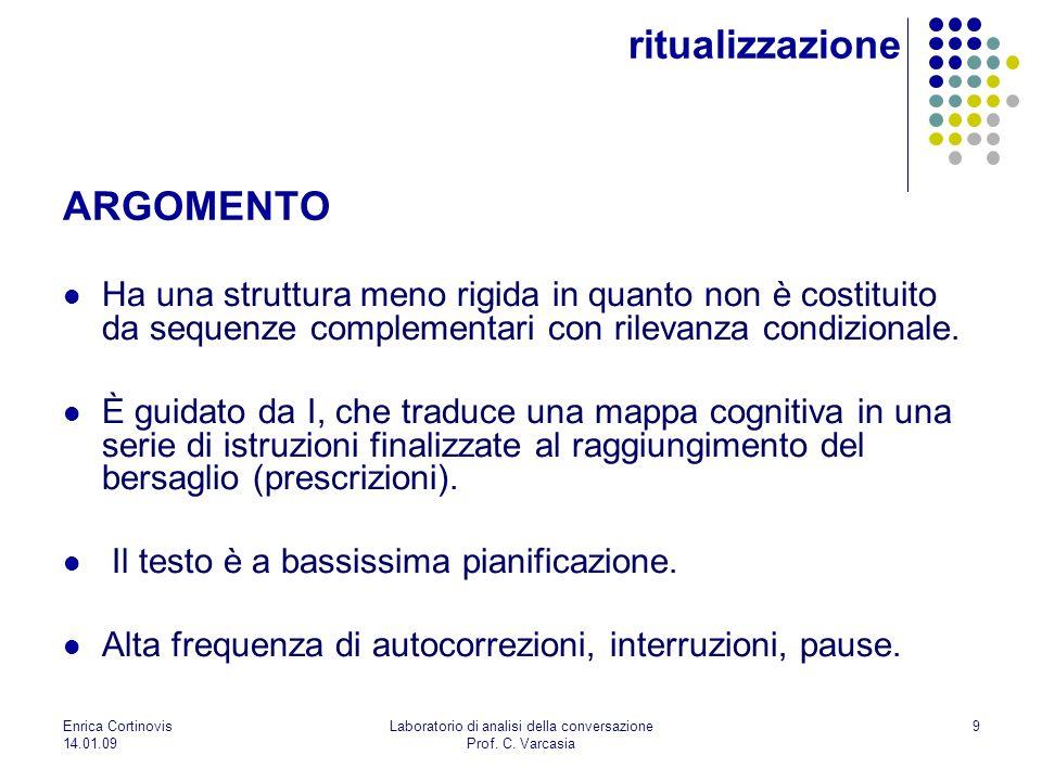 Enrica Cortinovis 14.01.09 Laboratorio di analisi della conversazione Prof. C. Varcasia 9 Ha una struttura meno rigida in quanto non è costituito da s