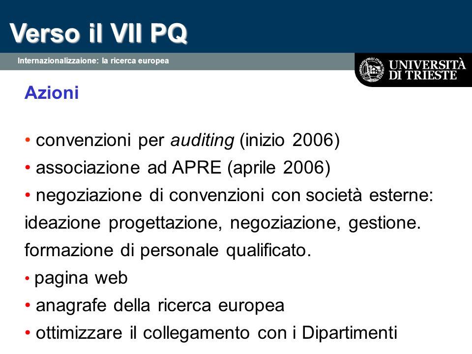 Verso il VII PQ Azioni convenzioni per auditing (inizio 2006) associazione ad APRE (aprile 2006) negoziazione di convenzioni con società esterne: ideazione progettazione, negoziazione, gestione.