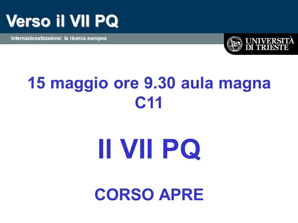 Verso il VII PQ 15 maggio ore 9.30 aula magna C11 Il VII PQ CORSO APRE Internazionalizzaione: la ricerca europea
