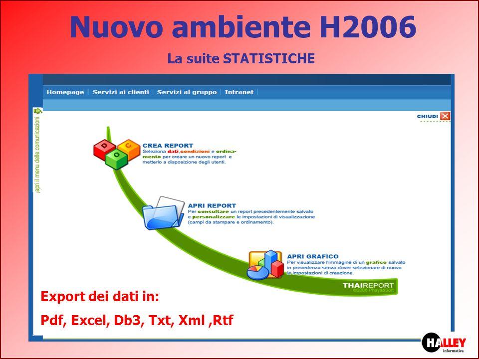 Nuovo ambiente H2006 La suite STATISTICHE Export dei dati in: Pdf, Excel, Db3, Txt, Xml,Rtf