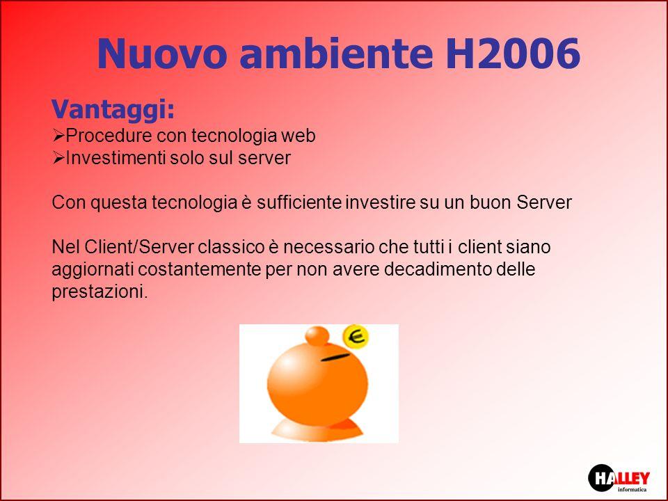 Nuovo ambiente H2006 Vantaggi: Procedure con tecnologia web Investimenti solo sul server Con questa tecnologia è sufficiente investire su un buon Serv