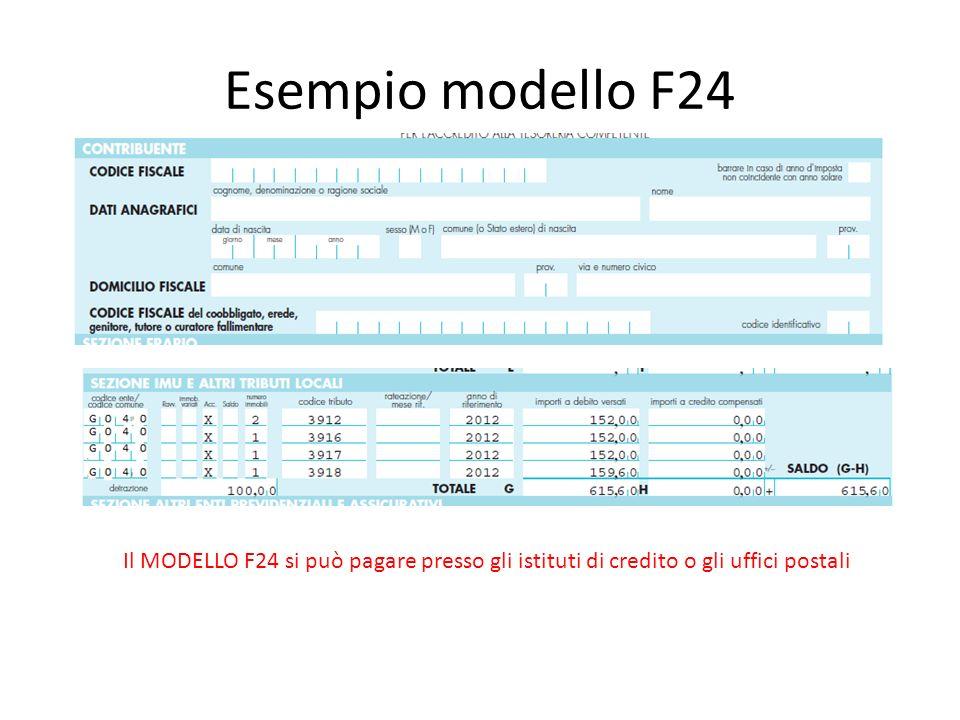 Esempio modello F24 Il MODELLO F24 si può pagare presso gli istituti di credito o gli uffici postali