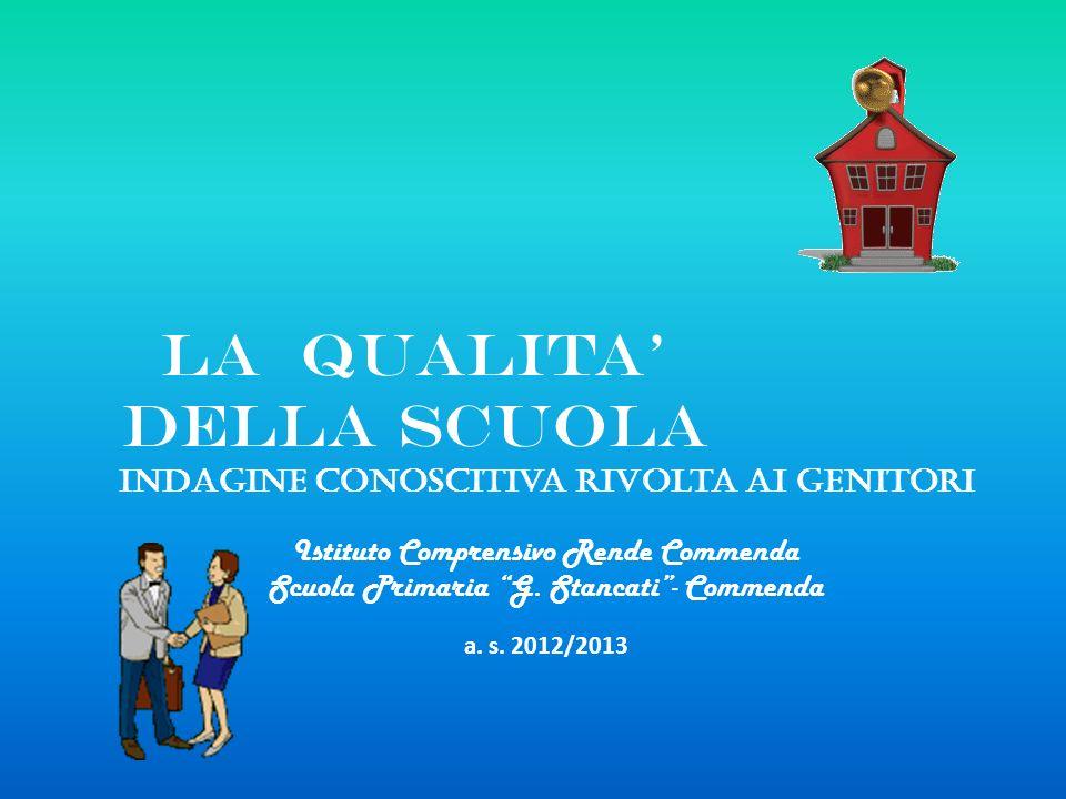 La qualita della scuola Indagine conoscitiva rivolta ai genitori Istituto Comprensivo Rende Commenda Scuola Primaria G. Stancati- Commenda a. s. 2012/