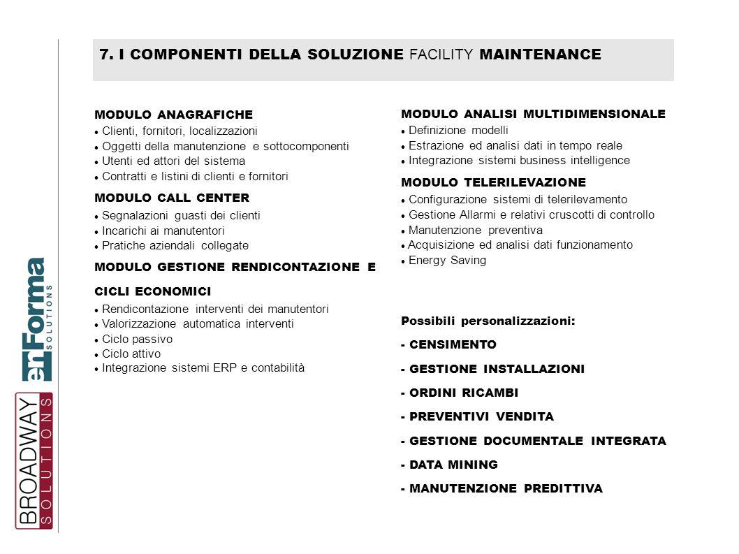 7. I COMPONENTI DELLA SOLUZIONE FACILITY MAINTENANCE MODULO ANAGRAFICHE Clienti, fornitori, localizzazioni Oggetti della manutenzione e sottocomponent