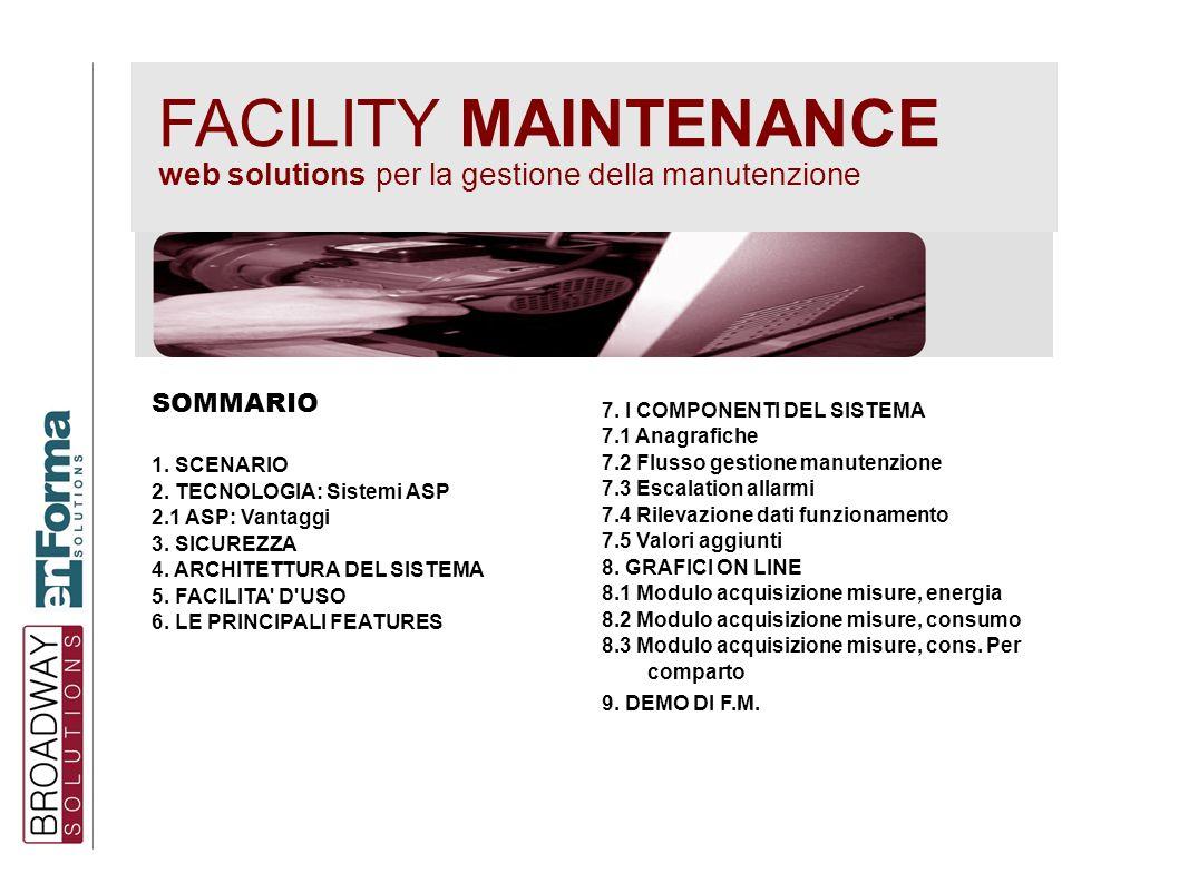 FACILITY MAINTENANCE web solutions per la gestione della manutenzione SOMMARIO 1. SCENARIO 2. TECNOLOGIA: Sistemi ASP 2.1 ASP: Vantaggi 3. SICUREZZA 4