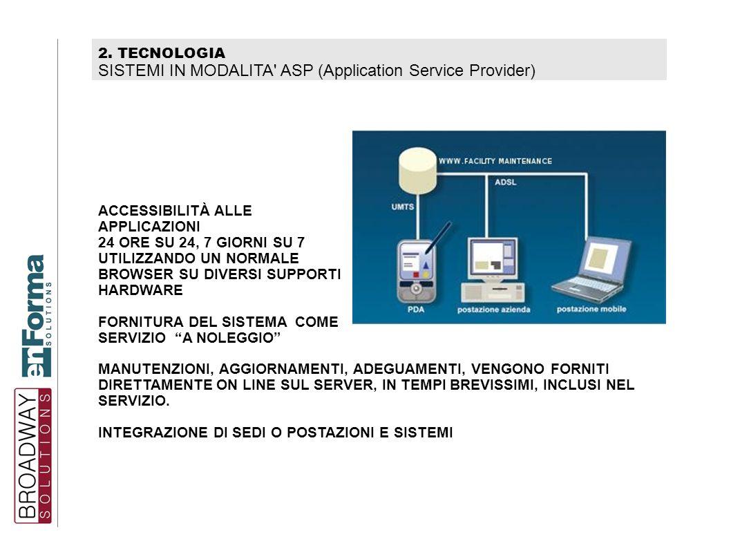 2. TECNOLOGIA SISTEMI IN MODALITA' ASP (Application Service Provider) ACCESSIBILITÀ ALLE APPLICAZIONI 24 ORE SU 24, 7 GIORNI SU 7 UTILIZZANDO UN NORMA