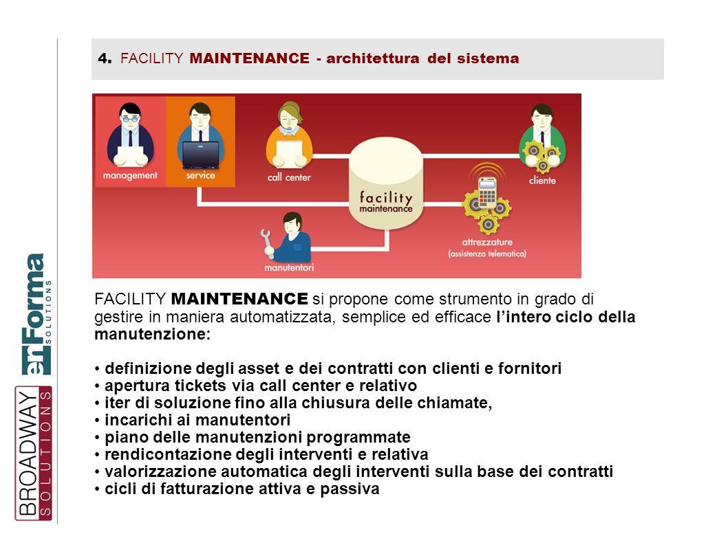 4. FACILITY MAINTENANCE - architettura del sistema FACILITY MAINTENANCE si propone come strumento in grado di gestire in maniera automatizzata, sempli