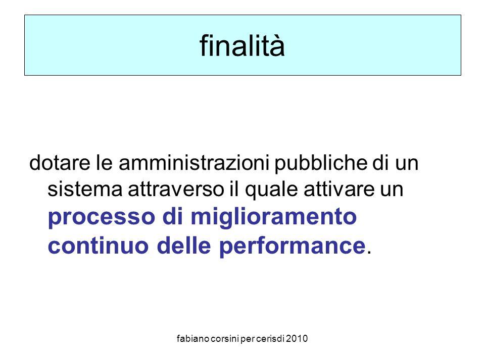 fabiano corsini per cerisdi 2010 finalità dotare le amministrazioni pubbliche di un sistema attraverso il quale attivare un processo di miglioramento continuo delle performance.