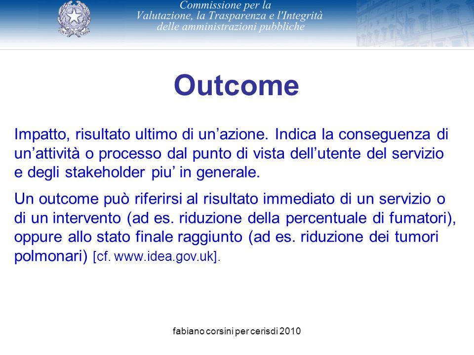 fabiano corsini per cerisdi 2010 Outcome Impatto, risultato ultimo di unazione.