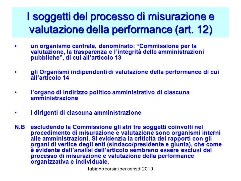 fabiano corsini per cerisdi 2010 I soggetti del processo di misurazione e valutazione della performance (art.