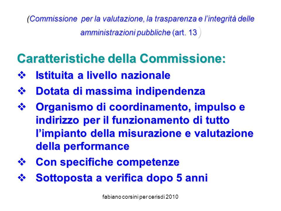 fabiano corsini per cerisdi 2010 (Commissione per la valutazione, la trasparenza e lintegrità delle amministrazioni pubbliche(art.
