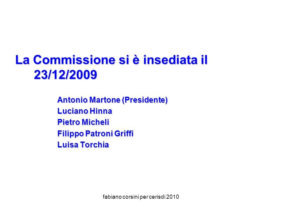 fabiano corsini per cerisdi 2010 La Commissione si è insediata il 23/12/2009 Antonio Martone (Presidente) Luciano Hinna Pietro Micheli Filippo Patroni Griffi Luisa Torchia